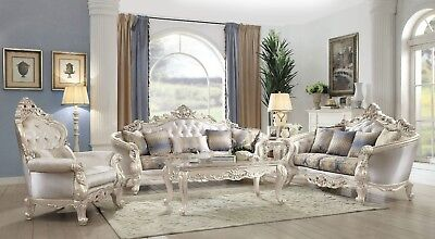 Super Royale French Provincial Button Tufted Sofa Loveseat Set In Antique Champagne Home Interior And Landscaping Analalmasignezvosmurscom