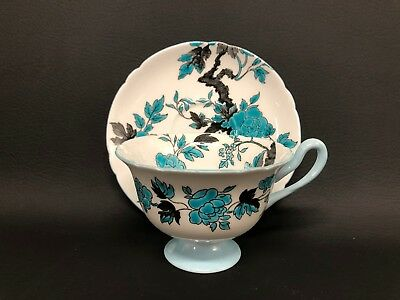 Shelley Ovington Cup & Saucer Turquoise Flowers with Black Branches, Blue Trim