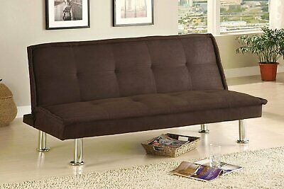 Coaster Futon Sofa Bed With Removable Arm Rests Brown Vinyl New