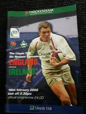 2002-England V Ireland-Triple Crown-6 Nations-International Rugby Programme