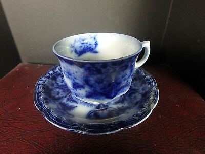 NEW WHARF POTTERY SEVILLE PAT ENGLAND FLOW BLUE Cup & Saucer Beautiful!!!!