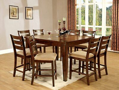 """Claudia II Modern 36""""-54"""" Counter Height Dining Table Set in Antique Oak"""