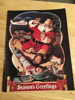1990s Reproduction of a Vintage COCA-COLA  AD  Season's Greetings Santa Claus