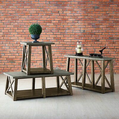 New Modern Farmhouse Rustic Style Distressed Accent Two Table Set Cocktail & End