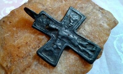 "RARE 11-12th CENTURY LARGE ORTHODOX or CATHOLIC CRUCIFIX ""FOOTED"" KNIGHT'S CROSS"