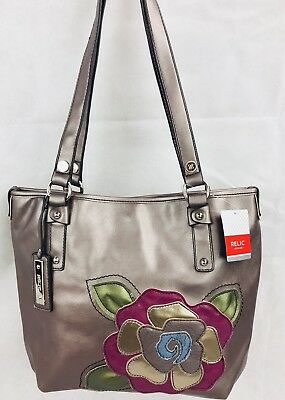 RELIC HANDBAGS TOTE Pewter Rose Boho Faux Leather Shoulder Bag Purse ... ec00e6f4f72e4