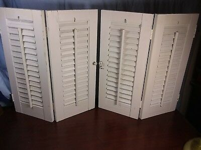 Vintage White WoodOld Window Shutters Louvered Country Cottage Shabby Chic 1 Set