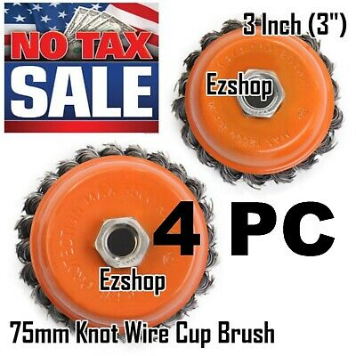 """Ezshop 4 Wire Cup Brush 3"""" (75mm) for 4-1/2"""" (115mm) Angle Grinder Twist Knot"""