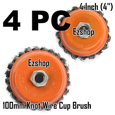 """4 Wire Cup Brush Wheel 4"""" (100mm) for 4-1/2"""" (115mm) Angle Grinder Twist Knot"""
