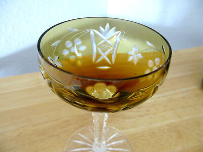 1 NACHTMANN TRAUBE CUT TO CLEAR Amber CRYSTAL CHAMPAGNE Grape Leaf Hobstar