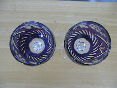 Nachtmann Traube Amythest Purple CUT TO CLEAR Lead Crystal 2 Wine Glass HUNGARY