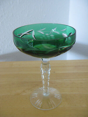 Nachtmann Traube Emerald Green CUT TO CLEAR Lead Crystal Wine Glass HUNGARY