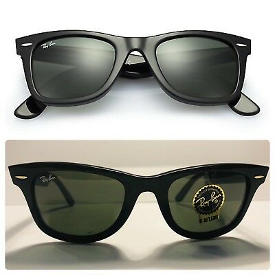 678de5d2420 RAY BAN RB 2140 Original Wayfarer 901 Black Frame  Green Classic G-15 Glass  Lens -  68.00