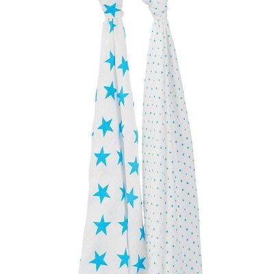 Aden and Anais Classic Muslin Cotton Baby Swaddle Blanket Wrap Fluro Blue 2 Pack