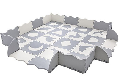 """Baby Play Mat with Fence   Superjare Thick 0.56"""" Interlocking Foam Floor Tiles  """