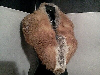 VINTAGE pure70 red fox fur big collar crafmanship in real fur purple red lining