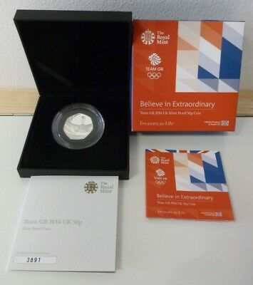Team GB 2016 Olympic Games Rio Royal Mint Sterling Silver Proof 50p Coin Boxed