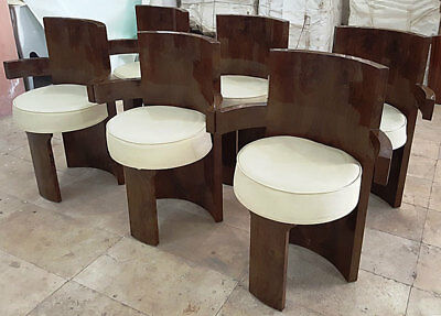 ART DECO Stühle 6-er SET WALNUT curved armchairs elitär SUITE SITZMÖBEL ENSEMBLE