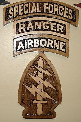 SPECIAL FORCES PATCH with Airborne Tab, RANGER,wood carving, plaque,airborne, SF