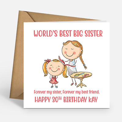 Personalised Worlds Best Big Sister 30th Custom Name Age Birthday Cards