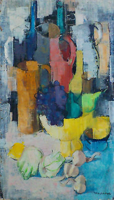 Beautiful Oil/Canvas Cubist Sill Life Painting by Laurent Moonens (1911-1991