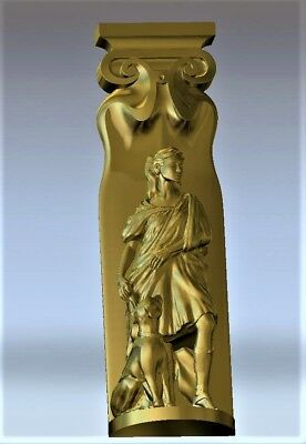 Goddess relief 3d model relief for cnc in STL file format decor ancient girl dog