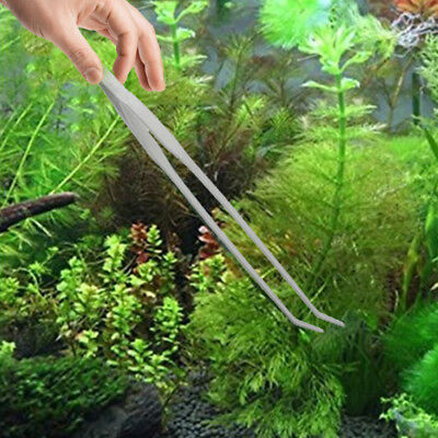 Aquarium Live Tank Curve Plant Long Tongs Stainless Steel Scissor Tweezers new
