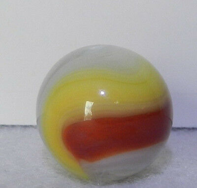 #8653m Vintage Akro Agate Red and Yellow Popeye Marble .67 Inches *Mint*