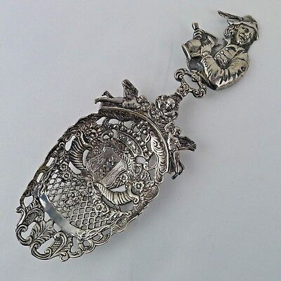 Continental Silver Pierced Nut Spoon Chester Import 1902 B. Muller & Son Figural