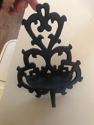 CAST IRON Wall Candle HOLDER Decorative METAL LARGE Sconce