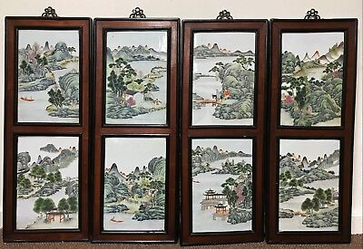 Exceptional Set of 8 Antique Chinese Hand Painted Porcelain Plaques Tiles