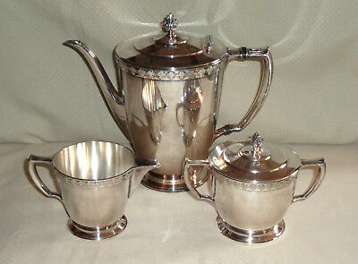Oneida Rogers 1881 TEMPO 1930 Silverplate Coffee Service 3 Pc Pot Creamer Sugar