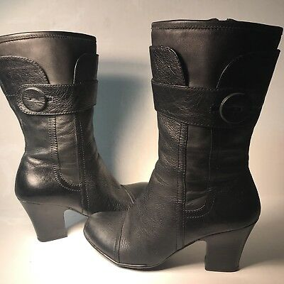 a159173409cf Women s US 6 EU 36.5 Born Black Leather Zip Boots Mid Calf Preowned