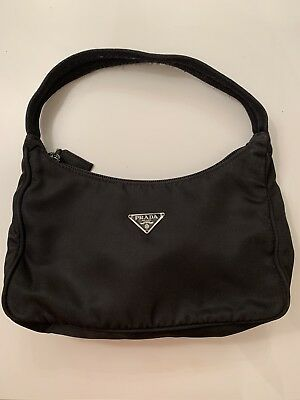 ee8e3e05d3f55b PRADA BLACK NYLON Tessuto Sport Mini Hobo Bag Purse Shoulder Handbag ...