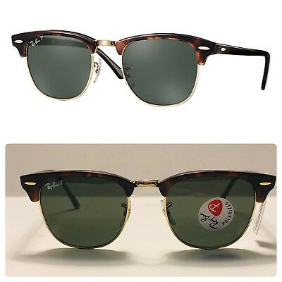 68a5fd2a6 Ray-Ban Clubmaster Sunglasses Polarized RB3016 990/58 51mm Tortoise/Green  Lens!