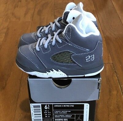 "brand new e4551 9e661 DS 2011 Air Jordan 5 Retro (TD) ""Lt Graphite  White-Wolf"