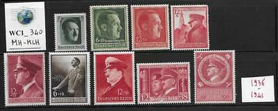 WC1_340 GERMANY Collection of 1936-1941 GERMAN LEADER semi-postals. Mint