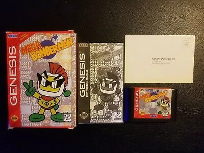 Mega Bomberman Sega Genesis Complete CIB Manual Cart and Box Tested