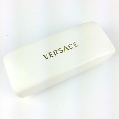 abdc7a7d37c2 Versace Embossed Gold Logo White Leather Hard Clamshell Eyeglass Glasses  Case