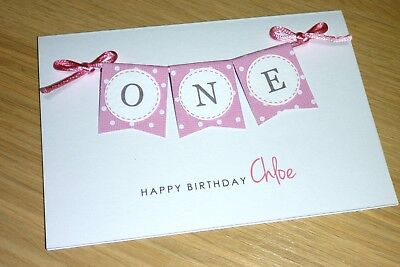 1st Birthday Card - ONE - boys girls  first pink blue green purple personalised!