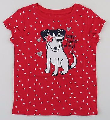4th of July Toddler Girls Size 2T Tee Shirt Red Polka Dots Dog Jumping Beans