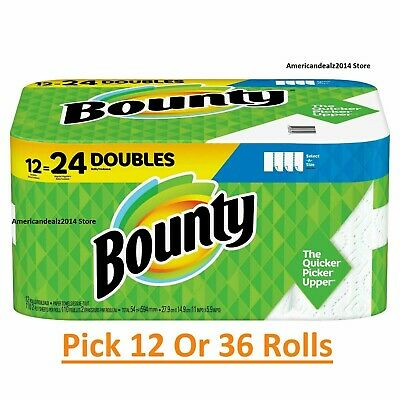 """Bounty Full Sheets 2-Ply Paper Towels, 11"""" x 10"""", White,12, 15 Rolls - Fast Ship"""
