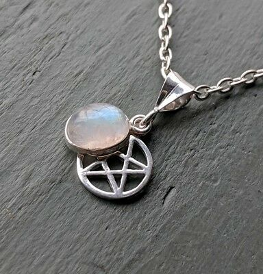925 Sterling Silver Pentagram & Rainbow Moonstone Pendant Pagan wiccan jewellery