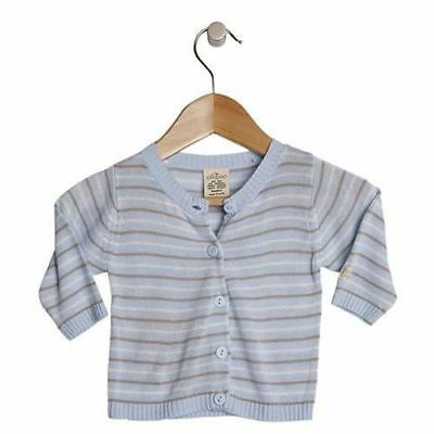 Baby Knit Cardigan Jacket by Olliboo Organic Bamboo Clothes Size 00 New Blue Boy