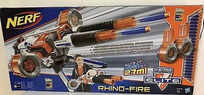 Hasbro Nerf N-Strike Elite Rhino-fire Rhino 50 Darts Drum Mags Tripod Gun Bundle