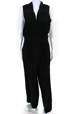 50e6d60b89bd Cynthia Steffe Womens Wide Leg Pleated Front Jumpsuit Black Silk Size 8