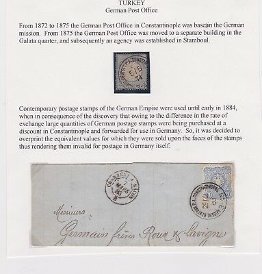 Turkey-1883 Ottoman German Levant Post Post Office Constantinople cover - France