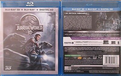 BLU RAY 3D + 2D + copie UV JURASSIC WORLD dinosaures Chris Pratt Spielberg Park