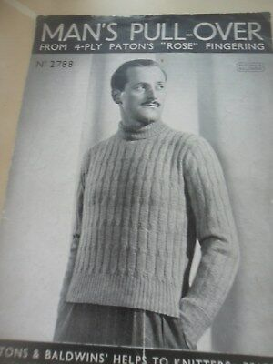 VINTAGE 1940's P&B 4 PLY KNITTING PATTERN GENTS PATTERNED SWEATER 36 in
