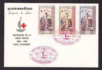 Laos 1963 FDC 1st day cover 100th anniversary of the Red Cross
